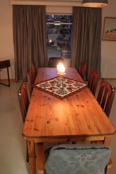 Dining table @ Lara's.  Seats 8 to 10 people